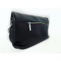 Черна кожена чанта Bag to Bag с джоб на капака