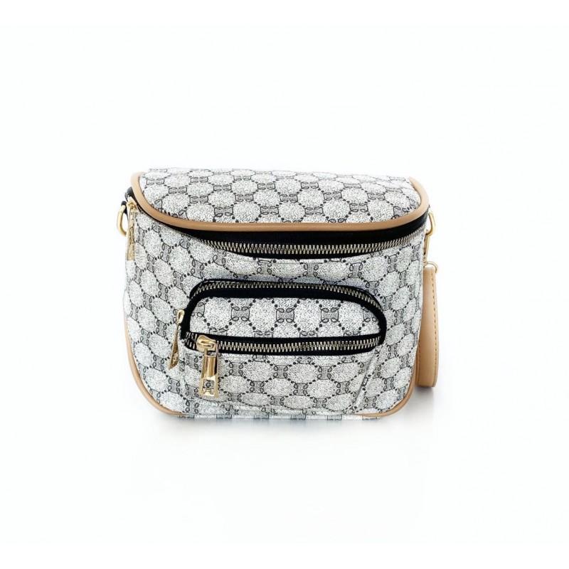 Чанта в интересен десен със златни ципове