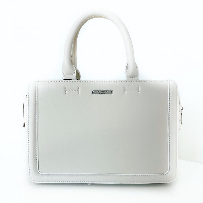 Кожена чанта Bag to bag в цвят крем.