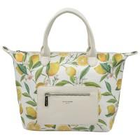 Дамска чанта David Jones с декорация плодове в бяло и жълто