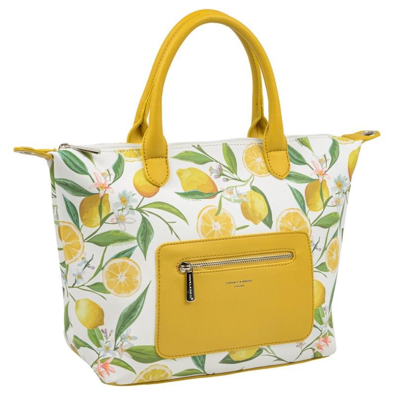 Дамска чанта David Jones Paris в бяло с декорации плодове