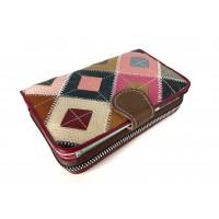 Дамско портмоне Vera Pelle естествена кожа цветни фигури