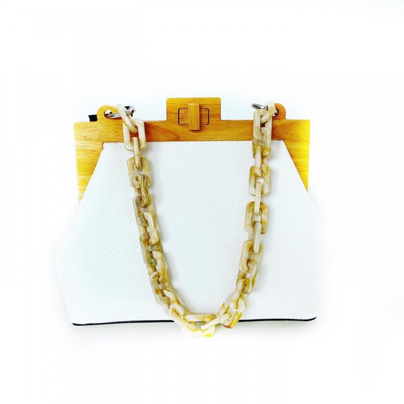 Елегантна дизайнерска чанта с дървен детайл Phil Firenze