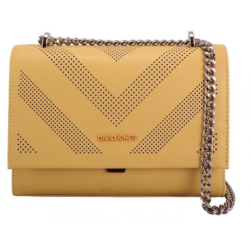 Дизайнерска дамска чанта David Jones Paris в жълто с метална дръжка